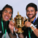 All Black centre Ma'a Nonu and halfback Piri Weepu pose with the Webb Ellis Cup. Photo / Getty Images