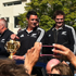Richie McCaw and Dan Carter greet fans at their victory parade in Christchurch. Photo / @PlatoDesign via Twitter 
