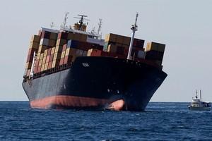 The stricken cargo ship Rena. Photo / Christine Cornege