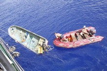 A Japanese fishing boat found by a Russian ship in the northwest Pacific. Photo / International Pacific Research Center