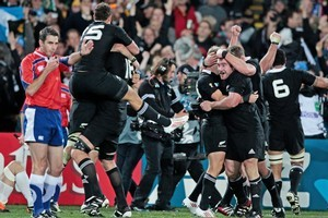 Jubilation as referee Craig Joubert blows the final whistle on an All Black World Cup win. Photo / Brett Phibbs