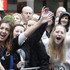 Fans gathered on Lambton Quay to greet the All Blacks. Photo / Mark Mitchell