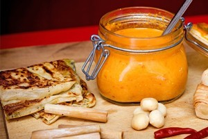 Malaysian chilli sauce with channai roti. Photo / Babiche Martens