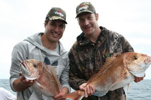 Anthony Boric and Ali Williams pulled in two of the biggest snapper. Photo / Paul Thomas