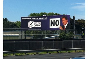 Anti-MMP billboards featuring Winston Peters went up today calling for New Zealanders to vote to abandon the current voting system. Photo / supplied