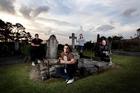 Ghost investigators, from left, Vicki Wedd, 43, Andrew Farrell, 23, Jennifer Jansen, 27, and Mark Wallbank, 42, in a cemetery on Glenfield Rd. Photo / Janna Dixon