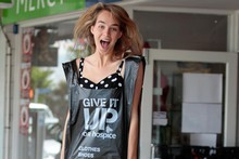 NZ Top Model Brigette Thomas hopes to encourage young people into their local hospice stores. Photo / Brett Phibbs