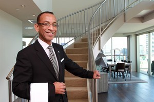 Director of Food and Beverage Anura Abeysundara at the  $10,000 penthouse suite at The Pullman Hotel. Photo / Doug Sherring