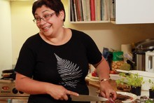 Green Party co-leader Metiria Turei rustles up her controversial signature dish. Photo / Doug Sherring