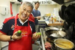 Chef Wan cooks his Malaysian Johor Laksa dish at Santhiya's in Mt Roskill. Photo / Greg Bowker