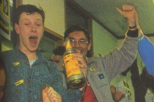 A young Jonathan Milne (L) celebrates the adoption of MMP in 1993. Photo / Supplied