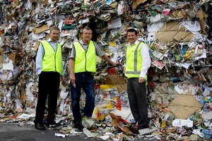 Fullcircle's James Flexman (right) with fellow managers Mark Bendikson and Murray Parrish at the recycling mill. Photo / Sarah Ivey