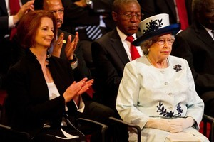 Australian Prime Minister Julia Gillard, left, and Britain's Queen Elizabeth II were in attendance at CHOGM in Perth, Australia. Photo / AP
