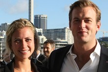 Holly Branson with Freddie Andrews in Auckland for the Rugby World Cup. Photo / Greg Bowker