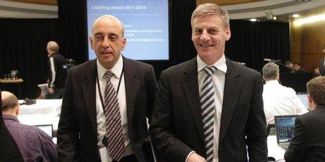 Finance Minister Bill English with Treasury Secretary Gabriel Makhlouf. Photo / Mark Mitchell