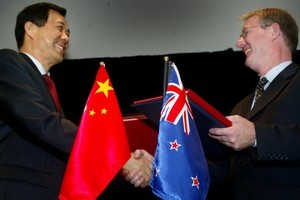 China's Commerce Minister, Bo Xilai and New Zealand Minister of Trade, Jim Sutton after signing a Free Trade Agreement between the two countries. Photo / NZ Herald