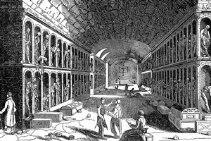 A sketch of Palmermo's Capuchin Catacombs, where some 2000 people are entombed. Image / Thinkstock