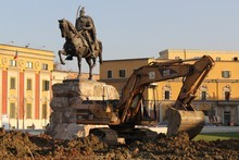Construction in Tirana's Skanderbeg Square. Photo / Mauricio Olmedo-Perez