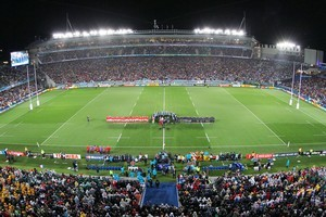 Players sing before the semi-final match between Wales and France at Eden Park. Photo / Greg Bowker