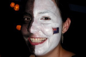 A rugby neophyte no more - celebrating the All Blacks' Rugby World Cup 2011 win. Photo / Michael Hawkey