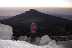 Vanessa James at Gilmans Point on the edge of Kilimanjaro's crater rim. Photo / Vanessa James