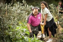 Owairaka school is getting a Garden-to-Table project running with help from Hire-a-Hubby. Here, Simon Ikiua and Lannia Peae get stuck in. Photo / The Aucklander