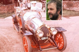 Sir Peter Jackson (inset) purchased the famed car from the movie 'Chitty Chitty Bang Bang.' Photo / Supplied