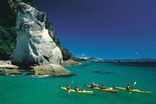 Sea kayakers at Cathedral Cove. Photo / Tourism Coromandel
