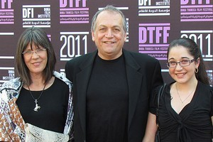 Joe Letteri with his wife Abbey, left, and daughter Sofia appear at the Doha Tribeca Film Festival. Photo / Belinda Henley