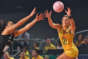Julie Corletto of the Diamonds receives a pass during a match against the Silver Ferns. Photo / Getty Images