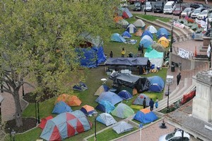The Occupy Dunedin group has been living in tents in central Dunedin's Octagon. Photo / Otago Daily Times