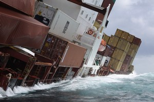The starboard side of the Rena is largely underwater at high tide. Photo / Maritime NZ