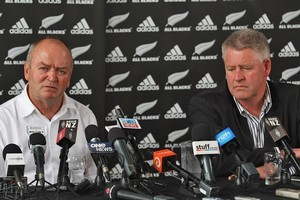 Former All Black coach Graham Henry and NZRU CEO Steve Tew. Photo / Getty Images