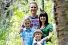 The Kauri Park is a favourite local hangout of the Chatswood residents: Damian and Darryl-Lee Wendelborn and their children George and Stella. Photo / Dean Purcell