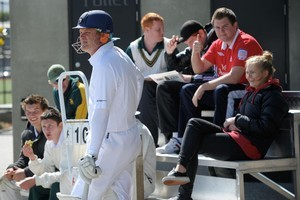 Former New Zealand captain Martin Crowe in a reserve grade game at Papatoetoe yesterday showed glimpses of the technique that won him international recognition. Photo / Jason Dorday
