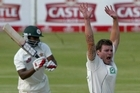 Doug Bracewell appealing for the wicket of Zimbabwe batsman Tinotenda Mawoyo last week. Photo / AFP