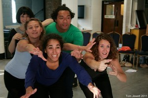 The London-based Shaky Isles Theatre group rehearse Taniwha Thames. Photo / Supplied