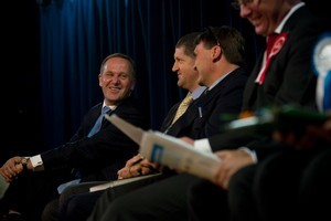 John Key, who the party is building its campaign around, was at Whenuapai School last night for a meet-the- candidates event. Photo / Dean Purcell