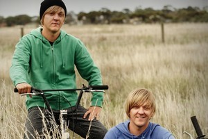 Chris Lilley has a range of characters in Angry Boys including (from left) twins Daniel and Nathan Sims, S.mouse and Gran. Photos / Supplied