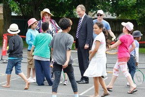 Labour leader Phil Goff visited Crawshaw Primary School in Hamilton yesterday to announce his party's education policy. Photo / Christine Cornege