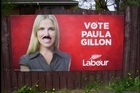 Paula Gillon's election billboard has been defaced with a moustache. Photo / Supplied