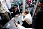 National Party leader John Key and Act Party member John Banks at a cafe in Newmarket during the cup of tea meeting. Photo / Dean Purcell.