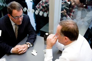 National Party leader John Key and Act Party member John Banks meet for a cup of tea. Photo / Dean Purcell