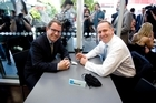 National Party leader John Key and Act Party member John Banks at a cafe in Newmarket. Photo / Dean Purcell