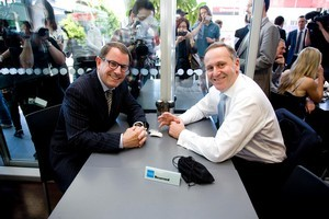 Act candidate John Banks and Prime Minister John Key were oblivious to the recording device on their cafe table in Newmarket. Photo / Dean Purcell