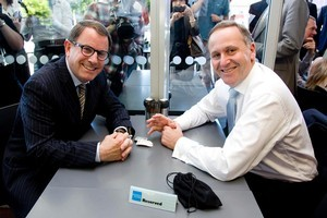 John Banks and John Key at their cup of tea and chat. Photo / Dean Purcell