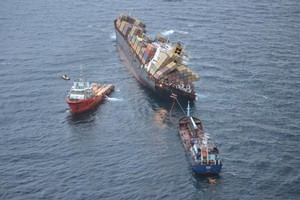 The Go Canopus and the Awanuia continued to recover oil from the Rena yesterday. Photo / LOC