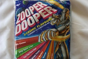 Zooper Dooper Flavoured Ice Confection Mix - 8 Cosmic Flavours. $7.19 for 24 70ml tubes. Photo / Supplied