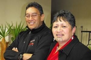 Hone Harawira and Jennifer Waitai-Rapana at the Wanganui Mana Movement Hui. Photo / APN