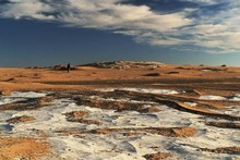 The White Desert, in a corner of the Sahara, is a seemingly endless landscape of sand trapped between chalk-white limestone barriers. Photo / Wikimedia Commons, original uploader was Zadokite at en.wikipedia 